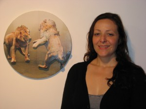 Rose next to her work, Matched opponents, 2010 paper collage, 400 mm diameter